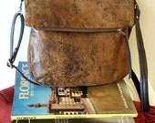 Vegan Crossbody Bag in Honey Mustard Faux Suede, Vegan Suede Bag, Foldover Crossbody Bag