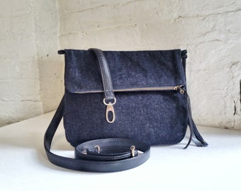 Vegan Crossbody Bag in Blue Denim, Vegan Bag, Foldover Crossbody Bag in Blue Denim