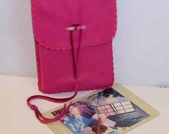 Large Vertical Flap Tarot Bag / Medicine Bag...Leather Medicine Bag....PINK