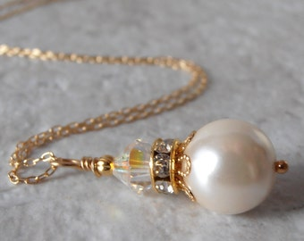 Ivory Bridesmaid Necklace Pearl Pendant Simple Wedding Jewelry 14k Gold Fill Chain 16 18 or 20 Inch Bridal Jewelry Bridesmaid Gift Handmade