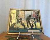 Thermometer Glass Silhouette Gold Metal Frame Vintage Family Blue Black Green