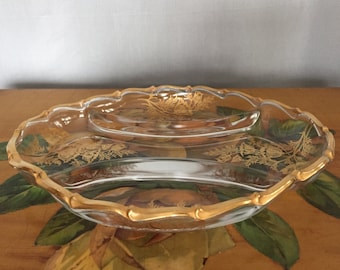 Glass Gold Tray Vintage Oval Plate Relish Tray Serving Condiments