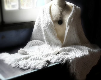 Handwoven summer shawl white lacey wrap