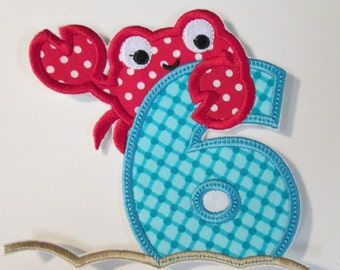 Summer Crab Alphabet or Numbers - Iron On or Sew On Embroidered Custom Made Applique