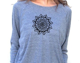 Womens Long Sleeve Sweatshirt - Mandala Lotus Design - American Apparel Raglan Pullover - Small, Medium, Large