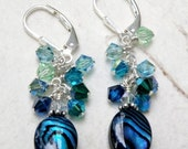 Abalone Shell Earrings, Natural Paua, Sterling Silver, Swarovski Crystals, Teal, Blue, Green, Beach Wedding Jewelry, Handmade Gift, Summer