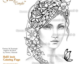 Forget Me Nots Fairy Tangles Adult grayscale Printable Coloring Page by Norma Burnell Adult Coloring for Grownups - Digital Coloring Files