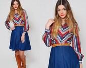 Vintage 70s CHEVRON STRIPE Mini Dress Long Sleeve Stripe Dress Fit and Flare Hipster SHIRT Dress