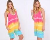 Vintage 80s TIE DYE Romper Bright Shibori Short Jumpsuit Slouchy RAINBOW Romper Beach Cover Up Tie Dye Shorts