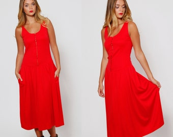 Vintage 80s Red Jersey Dress DROP WAIST Dress Sleeveless Fit & Flare Dress CORSET Dress