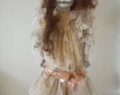 Creepy Zombie Day of the Dead Doll Porcelain, Original Hand-painted, Disturbing Fun!