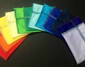 1 DOZEN (12) MamaBear Tuckables Pouch, Small (4 x 4) - Cloth Menstrual Pads, Wipes, Snacks, & more - Rainbow of Colors