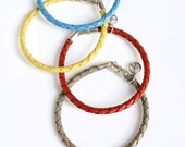 Leather and Sterling Bracelet for Men and Women (15 Colors) / Woven Leather Wristband / Trace
