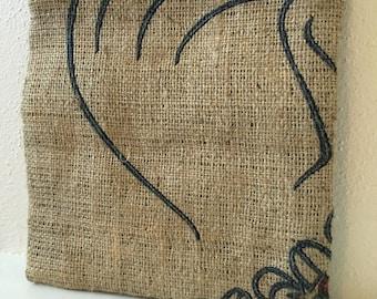 Kona Coffee Burlap Zipper Pouch/ Heavenly Hawaiian