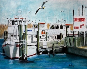 The Queen Mary-original watercolor- prints = 8X10 -15.00,Other sizes 11 x 14 - 25.00, 13 X 19- 35.00. Message me and I will list them .