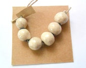 9-10mm Rustic Round White Raku Fired Clay Beads, Set of 6