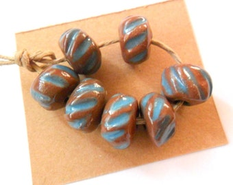 Hand Shaped Terra Cotta Kiln Fired Beads with Blue Accent, Set of 7