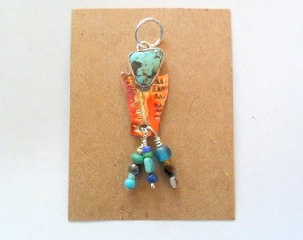 Artisan Turquoise and Copper Spirited Pendant