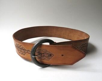 Boho vintage Rustic Wide Hand Tooled Saddle Brown Leather Belt