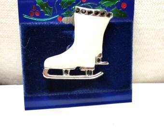 Enamel White Ice Skate Vintage  Figural Pin