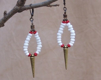 Spike Earrings with White Seed Beads
