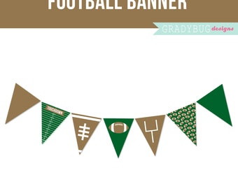 Football Party Banner, Sports Printable, Boys Birthday, Sports Birthday Party, Printable Banner, Field Goal, Brown, Green, Instant Download