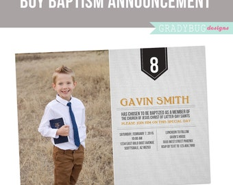 LDS Baptism Invitation Printable for Boys Baptism Announcement, Grey, Orange, Great to be 8 INSTANT DOWNLOAD