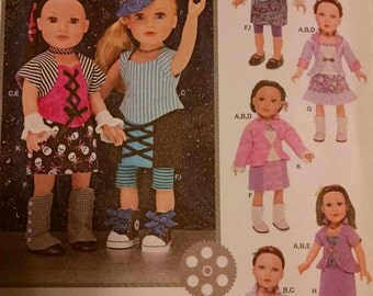 Simplicity 1087 funky punk outfits for 18 inch dolls