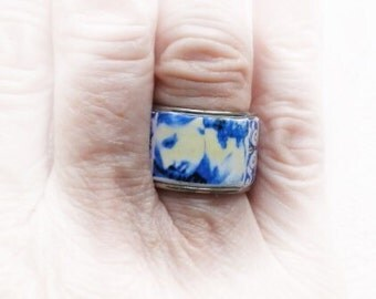 Portugal Blue Antique Azulejo Tile Replica Ring - Individually Placed Collage  US size 6 1/2 or 16.92mm, UK N, Stainless Steel  OOAK Nazare
