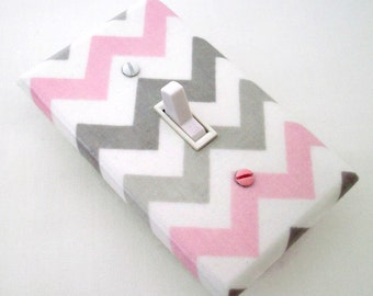 Chevron Light Switch Cover - Pink and Grey Nursery Decor - Girls Nursery - Decorative Switchplate - Chevron Decor - Girls Bedroom Baby Room