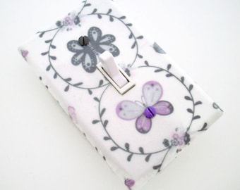 Butterfly Light Switch Cover - Grey Purple Switch Plate - Lavender Gray Butterflies Room - Girls Bedroom Decor - Girls Butterfly Room