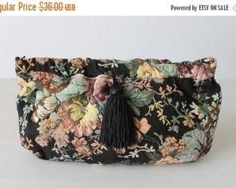 SALE Vintage Tapestry Clutch Purse / Tassel Trim / Optional Shoulder Strap / Dusk's Garden