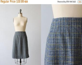 SALE Blue Plaid Wool Skirt / Vintage Plaid Skirt / Dorchester