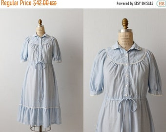 SALE Vintage 1970s Gunne Sax Prairie Dress / Blue Gingham Dress / Cotton Dress / Peasant Festival Dress