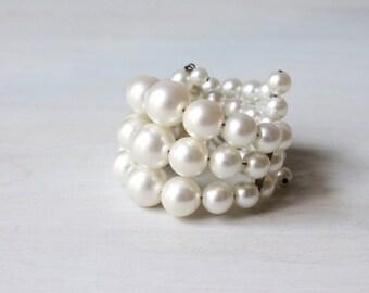 Pearl Expansion Bracelet / Vintage 1950s Bracelet / Pearl Bracelet / 50s Expansion Bracelet