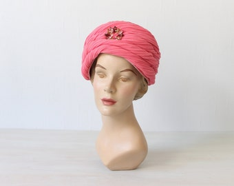 1960s Hot Pink Turban with Jewel Hat / 60s Hat / Bubble Bath