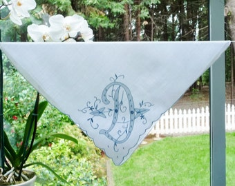 Vintage Initial D Hankie Handkerchief Embroidered and Applique White w/ Blue Monogram D