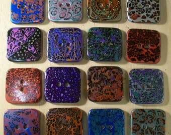 Handmade Resin Sewing Buttons - MY CHOICE of 6 different large SQUARE buttons