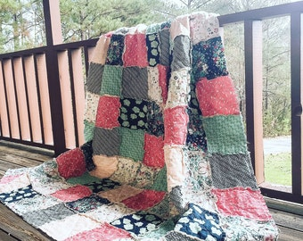 Quilt, king queen full twin, Rag Quilt, YOU CHOOSE SIZE, Nouvelle fabrics, navy aqua and coral, comfy cozy handmade bedding, sham