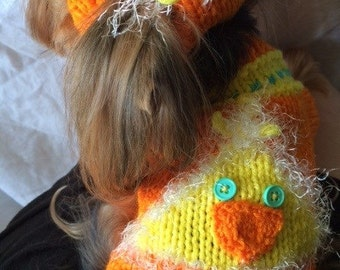 Adorable Dog Sweater, Hand Knit Pet Sweater, Full Length Sweater, Size SMALL, Fuzzy Chick