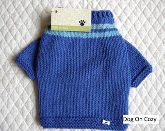 Dog Sweater, Hand Knit Pet Sweater, Size XSMALL, Sweatshirt Sweater Blue