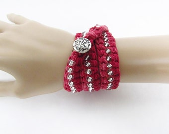 Beaded Wrap Bracelet in Red Faux Leather with Silver Glass Beads - Ready To Ship Long Crocheted Necklace