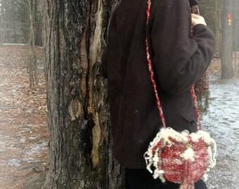 handknit art yarn fantasy shoulder bag purse - winter forest wandering bag