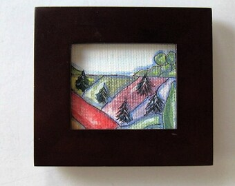 Framed acrylic landscape painting, Original Miniature art, Christmas tree farm, Affordable art, green and red fields, rustic, gift idea