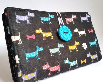 Black Linen Tampon and Pad Holder in Weiner Dog Print Privacy Wallet - Skinny Mutts
