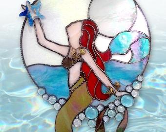 """Stained Glass Mermaid Suncatcher - """"Moonlight Mermaid"""""""