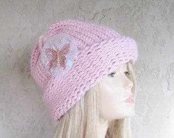 Dusty Rose Cloche Adult Hand Knit Hat with Removable Butterfly Ready to Ship