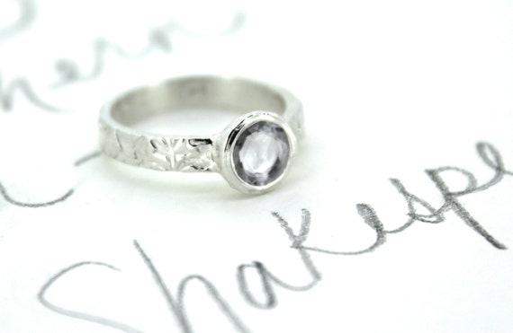 sale grey sapphire engagement ring . rose cut gray sapphire ring . vine silver gemstone ring . forever secret message. ready to ship size 6