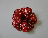 VINTAGE 80s red and white polka dot FLOWER BROOCH