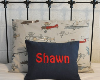 Boys Room Sham and Pillow, Vintage Airplane Boys Room Decor, Twin Sham and Personalized Pillow